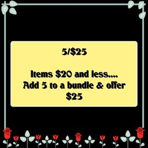 💥💥SALE💥💥  5/$25 Items $20 And Less